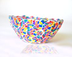 Stained Glass Geometric Polymer Clay Bowl by ClaydeLys1 on Etsy, $25.00
