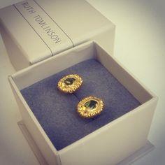 "@ruthtomlinsonjewellery's photo: ""#hoardcollection #peridot and #pearl #studs #earrings"""