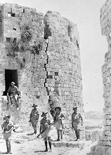 Australian troops among the ruins of the old Crusader castle at Sidon, Lebanon, July 1941