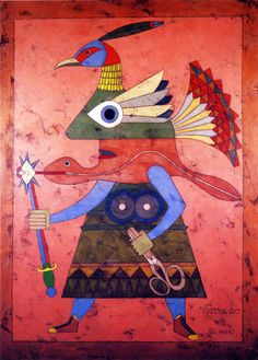 """Victor Brauner - Chevalier du Lien (Encaustic on board, "" Victor Brauner, Hans Thoma, Cultural Crafts, Francis Picabia, Vision Art, Picture Boxes, Max Ernst, Art Brut, Famous Art"