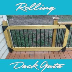 I've never been a fan of swinging deck gates; they take up too much room and they always wind up sagging no matter how well they are built and supported. So since we extended our deck last summer… Porch Gate, Diy Porch, Diy Deck, Front Porch, Deck Stairs, Deck Railings, Stair Gate, Under Decks, Sliding Gate