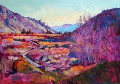 By Erin Hanson.  Backpacking the Sierra mountains inspired this stunning portrait of a dramatic landscape.  The winter colors of November come to life in shades of purple, aqua, and tangerine.  With thick, impasto brush strokes and an impressionist style, Hanson creates a textured mosaic of color and light.