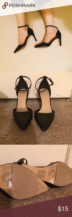 Worn Once Ankle Strap Pumps Adorable F21 heels with Ankle strap! Worn once and only sign of wear is on the soles, just some dirt. I will consider any and all bundle offers! Forever 21 Shoes Heels