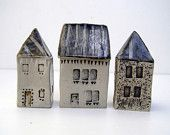 These lovely and artful homes make great decoration/conversation pieces.    Blue and grey townhouse.OOAK.. $35.00, via Etsy.