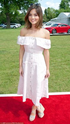 Elegant:Jenna Coleman looked stunning in an off-the-shoulder dress as she watched Prince Harry playing polo on Saturday