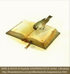 BIRD & BOOK © Kęstutis KASPARAVIČIUS (Artist. Lithuania). Award-Winning Children's Book Illustrator. Available as notecards or prints