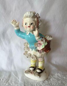 1950's Lipper Mann Creations Japan Figurine ~ Windblown Girl W/Spaghetti ~ Cute!   #1735960563