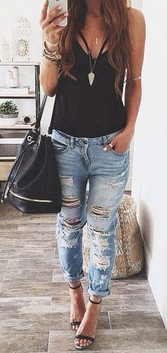 #summer #fashion casual ripped denim