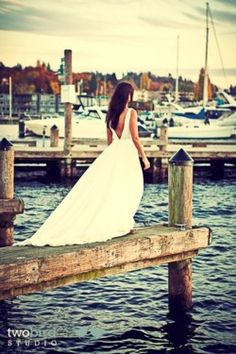 what a beautiful bride waiting for her groom on the marina