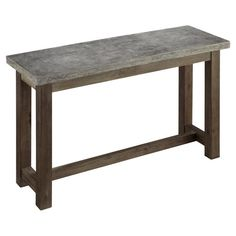Concrete-topped indoor/outdoor console table with a wood base.  Product: Console tableConstruction Material: Con...