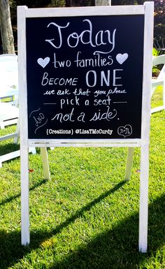 As two become one, Pick a seat || Detail #greger2loo #vintage #chalkboard #wedding #ceremony #creations #lisatmccurdy
