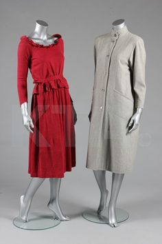 A group of Jean Muir clothing, 1970s-80s, including two jersey dresses, both labelled, one of black jersey with serpentine buttoned closure, bust 92cm, 36in; the other of crimson jersey with raglan sleeves, bust 86cm, 34in; a tan wool dress suit, bust 86cm, 34in; a rose mohair top and matching skirt; and a grey wool trapeze coat, chest 112cm, 44in (6) Provenance: Joanna Lumley