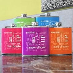 Bridal Party Color Flasks | Exclusively Weddings
