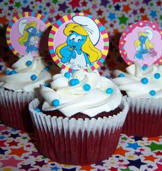 Smurfette Cupcakes by CupCakeFabuLous