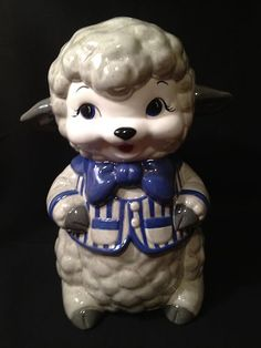 Vintage Ceramic Woolly Lamb Child's Piggy Bank with Blue Vest and Tie | eBay