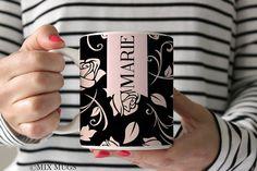 Floral Mug Mugs Personalized Black Pink Mug Girly Mug Floral Teacup Pink Gift Custom Name Mug Pretty Mug Girly Gifts Rose Mug Rose Gift P101