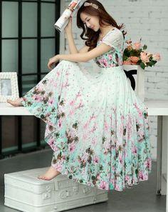 Free Shipping High Quality Bohemian Style Fashion Puff Sleeve Flower Printed Short Sleeve Chiffon Long Dress