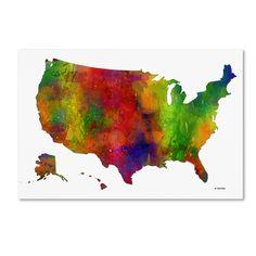 Marlene Watson 'usa Map Clr-1' Canvas Art