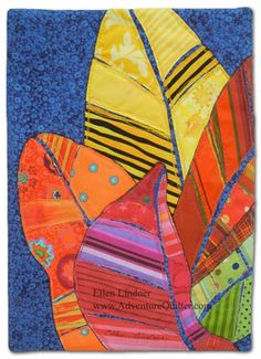 """Croton Leaves,"" an art quilt by Ellen Lindner, adventurequilter.com.  This very small quilt will  tour as part of a national trunk show.  It was great fun using the striped fabrics to repesent the veins."