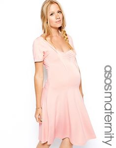 ASOS Maternity Skater Dress with Sweetheart Neck And Cap Sleeve