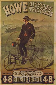 Below you'll find the celebration of retro and vintage design posters. Vintage posters are just beautiful! Vintage Advertising Posters, Old Advertisements, Old Bicycle, Bicycle Art, Bicycle Design, Bike Poster, Poster Ads, Motorcycle Posters, Images Vintage