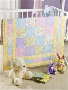 Sweet Baby Quilt Pattern Download from e-PatternsCentral.com -- A baby quilt for that newest family member is a thoughtful gift for Mom and Baby alike.