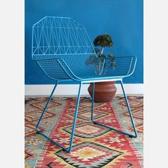 Farmhouse Chair by Bend. Geometric Pattern, powder coated steel. Peacock Blue.