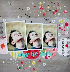 ★Scraptherapie★ - I soooo need to scraplift the idea of using confetti on at least one page - thinking of all the scraps I have!!