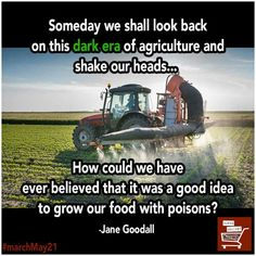 """""""Someday we shall look back on this dark era of agriculture and shake our heads. How could we have ever believed that it was a good idea to grow our food with poisons? Political Quotes, Global Warming, Wake Up, Just In Case, Health And Wellness, Believe, Encouragement, Knowledge, Politics"""