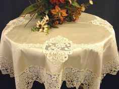Tablecloth  with  Lace Ecru Silk Luxury by ClassyInteriorsDeco, $610.00
