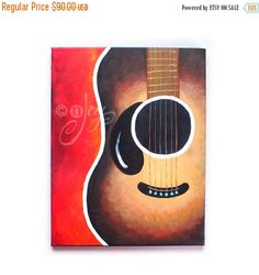 SALE Fine Art, SMILING GUITAR No.2,11x14 acrylic canvas, Art for Home & Office
