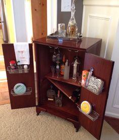 repurposed Philco Stereo Cabinet turned liquor cabinet