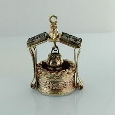 Art Deco 1930's 14k Gold Jeweled Wishing Well Vintage Movable Charm