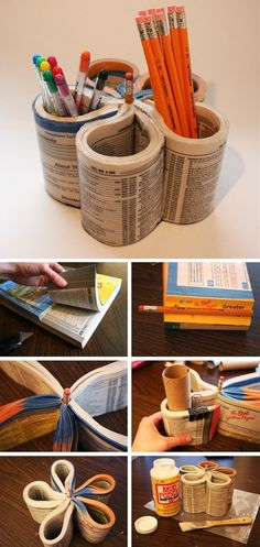 A Phone Book into a Pen Organizer