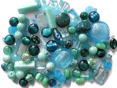 Mixed Beads 185 Pcs Aqua Blue Teal Seafoam Murano Style Glass Ceramic Acrylic