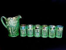 Imperial Glass Lenox Iridescent Green Tiger Lily Water Pitcher 6 Tumblers ~ Mint