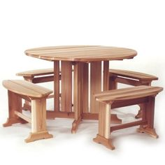 ATC - RT45u Patio Dining Set - CEDAR PATIO by Outdoor Patio. $619.00. Western Red Cedar. Bench: 30w x 11d x 17h. FREE SHIPPING!. Unassembled kit. Table: 45w x 45d x 29h. No detail was overlooked on this charming table set. Comes complete with 4 detached benches making it a favorite for patios and small areas. Optional umbrella hole available.