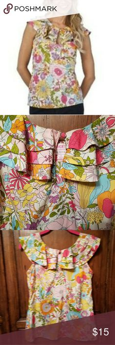 """XS Liberty of London for Target Ruffle Blouse Liberty Of London For Target pink Yellow Mod Floral Blouse Top Sz XS Ruffles and keyhole neck at front  armpit to armpit approx 16""""  Length 21""""  See pics for details Liberty of London  Tops Blouses"""