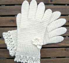 White Gloves With a Flower And Lace-Edging - free crochet pattern by Jolanta Gustafsson. There are more patterns for hands here. Crochet Gloves Pattern, Crochet Stitches Free, Crochet Mittens, Mittens Pattern, Fingerless Mittens, Crochet Scarves, Free Crochet, Knit Crochet, Crochet Borders