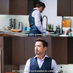 Captain America: Civil War Tony: Who put coffee grounds in the sink? Am I running a bed and breakfast for a biker gang? #mcu pinterest:  katepisors