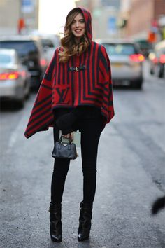 All the Best Street Style Straight from New York Fashion Week   Louis Vuitton Cape   The Blonde Salad