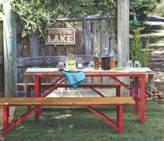 Red Beer Garden Dining Bench