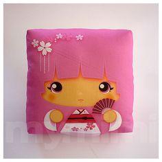 Kawaii Girl Girls Pillow Geisha Pillow Pink Pillow by mymimi