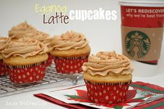 """Eggnog Latte' Cupcakes"" - for the coffee lover!  At Bru Crew Life.  Yum!"