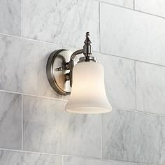 """Darcy Etched Opal Glass 9"""" High Brushed Steel Wall Sconce"""