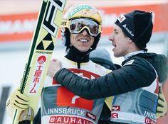 Noriaki Kasai and Simon Amman share third place in Innsbruck. Four Hills Tournament, january Noriaki Kasai, Ski Jumping, Sport 2, Innsbruck, Amman, Jumpers, Athletes, Captain America, Skiing