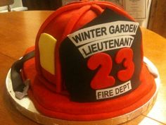 Fireman's Retirement Cake I was looking forward to making this cake - turned out easier than I thought - all edible. Firefighter Cakes, Fireman Cake, Firefighter Family, Retirement Cakes, Retirement Parties, Birthday Stuff, Birthday Cakes, Cupcake Cakes, Cupcakes