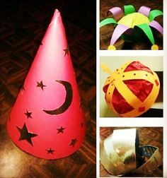 Medieval Themed Hats..maybe put a streamer coming out of cone hat, for a princess or a wizard?