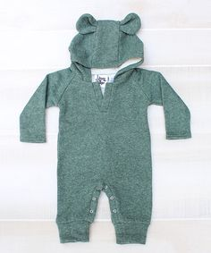 Look at this Green Bear Ear Hooded Playsuit - Infant & Toddler on #zulily today!