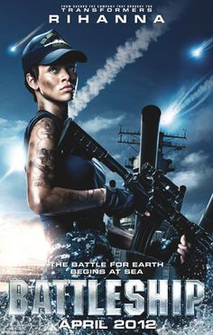 Rihanna looks tough in the international poster for her big screen movie debut. The 24-year-old changed her trashy, unclassy graments for a machine gun and army fatigues, and I like her image I must admit. Though there's a common thing between Rihanna and her Battleship character US Navy officer Raikes – love of tattoos. http://www.glamourvanity.com/tv-movies/witness-rihannas-big-hollywood-debut/